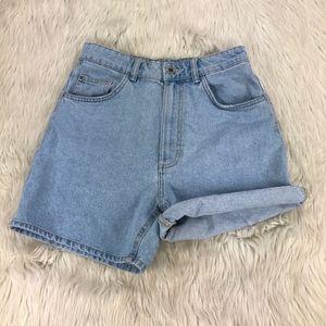 Zara Light Wash High Waist Denim Shorts